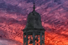 Dicker Turm - Glockenspiel vor Abendhimmel